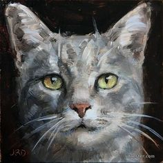 "Daily Paintworks - ""Grey Cat Head"" by J. Dunster #CatArt"