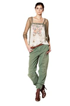 TWIN-SET Simona Barbieri :: Shop Online - Skirts - Trousers - Cargo trousers with zip