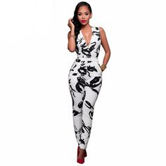 a84bfd6d17e8 Black and White Printed Jumpsuit. Bodycon JumpsuitPrinted JumpsuitCasual  JumpsuitJumpsuit StyleJumpsuits For WomenJumpsuits 2017Long JumpsuitsRompers  ...