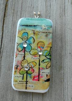 Domino Pendant Flowers & Rhinstones. $10.00, via Etsy.