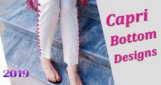 Capri bottom design 2018 cutting and stitching Green Girl, Pakistani Dresses, Stylish Dresses, Designer Dresses, Capri Pants, Trousers, Baby Dresses, Dress Designs, Sewing