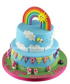 Rainbow Baptism Cake