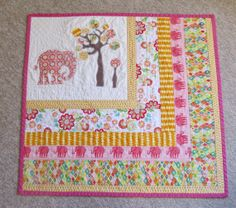 Modern Quilt Toddler Bedding Elephant Applique by AngelBabyQuilts, $110.00
