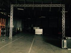 x goalpost standing by for an inflatable screen rigg Live Events, South Africa, Basketball Court