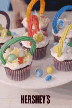 Bake up these tasty, and fun to decorate HERSHEY'S Easter Basket Cupcakes. Your whole family will enjoy decorating and personalizing their baskets with all of their favorite HERSHEY'S treats. From Twizzlers to Easter eggs and KISSES Chocolates. These cupcakes are easy and fun to make.