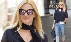 Fearne Cotton is sartorially chic in navy shirt and funky boyfriend jeans Martin Kemp, Fearne Cotton, Mail Online, Daily Mail, Boyfriend Jeans, Navy, Sunglasses, Stars, Chic