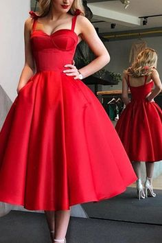 party Outfit Red Vintage Satin A Line Homecoming Dresses Spaghetti Straps Ruched Knee Length Bow Sash Short Prom Party Cocktail Dresses Red Vintage Satin A Line Homecoming Dresses Spaghetti Elegant Dresses, Pretty Dresses, Beautiful Dresses, Tea Length Dresses, Short Dresses, Formal Dresses, Wedding Dresses, Red Dress Outfit Wedding, Red Dress Prom