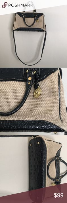 Brahmin canvas handbag Canvas with traditional black leather crocodile embossing!    Clean inside and one imperfection is pictured.  This bag was kept in amazing condition!   Bottom/inside and outside shows no wear! Brahmin Bags Crossbody Bags