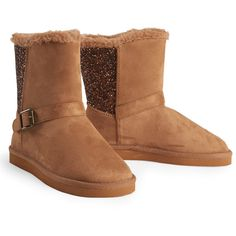 Aeropostale Kids' Sparkle Accent Slip-On Boots ($25) ❤ liked on Polyvore featuring shoes, boots, boot caramel, glitter shoes, sparkle boots, short heel boots, slip-on shoes and slip on boots