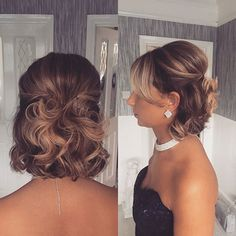 Cute-Half-Updo Wedding Hairstyles for Short Hair 2019 - Hair - . - Cute-Half-Updo Wedding Hairstyles for Short Hair 2019 - Formal Hairstyles For Short Hair, Evening Hairstyles, Quick Hairstyles, Short Hair Cuts, Short Hairdos For Wedding, Short Hair Bridesmaid Hairstyles, Very Short Hair Updo, Medium Updo Hairstyles, Wedding Hairstyles For Short Hair