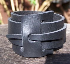 Wrap around leather cuff bracelet by RADCOW on Etsy