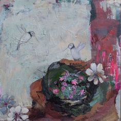 Part of my nature series with hummingbirds. 16x16 available. To learn more about my work, please visit my website. www.lorrakurtz.com