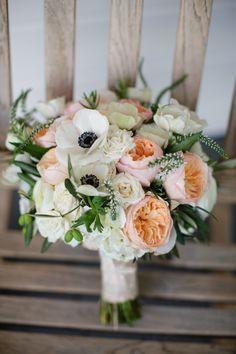 Garden rose, Veronica and anemone bouquet | Photography: Jihan Cerda Photography - www.jihancerda.com  Read More: http://www.stylemepretty.com/california-weddings/2015/06/05/rustic-carmel-ranch-wedding/