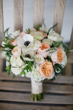 Garden rose, Veronica and anemone bouquet | Photography: Jihan Cerda Photography - www.jihancerda.com  Read More: http://www.stylemepretty.com/california-weddings/2015/06/05/rustic-carmel-ranch-wedding/