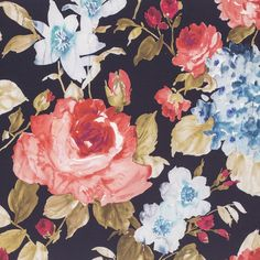 Aqua, Chair Fabric, Fabrics, Painting, Collection, Black, Flowers, Tejidos, Water