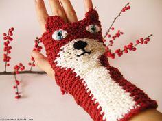 Fingerless Fox Gloves