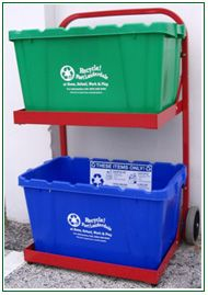 Model 0001RC - The Recycle Caddy provides convenient recycle bin storage and curbside transport in one easy trip.