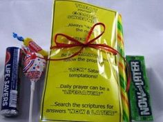 Treat yourself to gospel sweetness: a darling play on words using different treats to describe some of the gospel basics. Includes: 1 full pkg. lifesavers, 1 small pkg. now & laters, 1 lollipop, 1 piece of double bubble gum, 1 smartie, 1 candy stick by linda