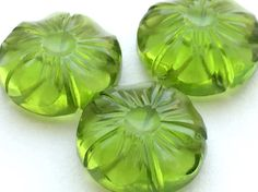 Peridot Green Glass Drops Glass Hand Carved by gemsforjewels