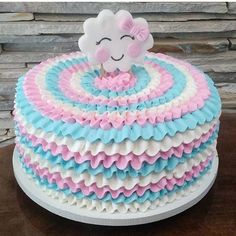 BOLO FESTA NUVEM DE AMOR Baby Cakes, Baby Shower Cakes, Baby Birthday Cakes, Unicorn Birthday Parties, Cake Icing, Buttercream Cake, Fondant Cakes, Cupcake Cakes, Cloud Cake