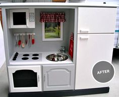 kiddy kitchen from entertainment center, this is so cool! Even I would want one!!!!