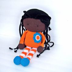 Crochet Doll African American 15 inches by TootyLou on Etsy, $60.00