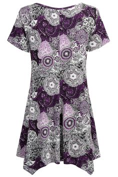 56f42e87a1a Nandashe Purple Shirts for Women Woman Latest Short Sleeves Cowl Neck  Cotton Blend Floral Tunic Pullover for Skirts Lavender Color Medium   Be  sure to check ...