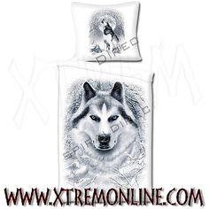 Funda nórdica + cojín White Wolf. 135 x 200 cm. Echa un vistazo a nuestra colección de fundas nórdicas de fantasía.