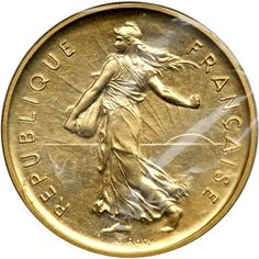 France. Gold Piefort 5 Franc, 1979. PF KM-P646 (KM-926a). 38.8 grams. Mintage 300 struck. In original sealed plastic. Estimated Value $1,500 - 1,600 #Coins #Gold #MADonC