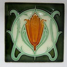 Unusual Minton China works vintage architectural ceramic tile art nouveau
