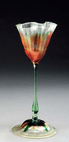 A FLOWER FORM FAVRILE GLASS VASE   Tiffany Studios, circa 1900   107/8in. (27.6cm.) high   engraved L.C.T. M8918