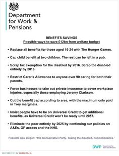 Revealed: Details Of Governments £12bn Welfare Cuts