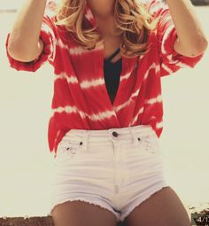 red + white tie dye top