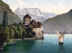 Chillon Castle, and Dent du Midi, Geneva Lake, Switzerland