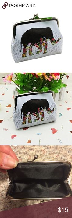 Vintage elephant clutch. Beautiful coin purse, card holder, clutch. Vintage style elephant with flowers on white background. Same print on both side. Still in plastic. Bags Wallets