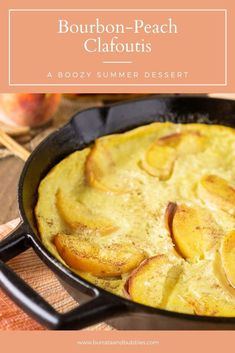 For a quick and easy summer dessert, this bourbon peach clafoutis is perfect. Everyone loves this peach dessert, and who can't get enough boozy desserts. This simple clafoutis recipe will be a new favorite. #peachclafoutis #bourbonclafoutis #clafoutisrecipesimple #clafoutisrecipe #clafoutispeach Easy Summer Desserts, Summer Dessert Recipes, Dinner Party Recipes, Party Food And Drinks, Fun Desserts, Fruit Recipes, Drink Recipes, Delicious Desserts, Snack Recipes