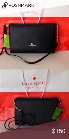 NW T Kate Spade Charlotte Street Alek New with tag Kate Spade Charlotte Street Alek crossbody handbag. Black crosshatched leather with 14-karat light gold plated hardware. Lined in Kate Spade capital jacquard lining. Interior has zip pocket and slip pocket. Flap snap closure. A real beauty! No trades kate spade Bags Crossbody Bags