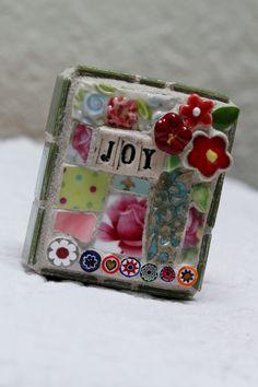 JOY pique assiette mosaic art by Lisabetzmosaicart on Etsy, $23.00