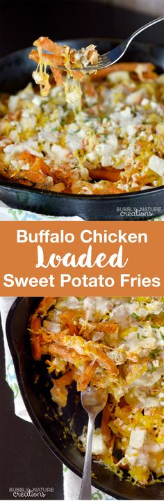 Buffalo Chicken Loaded Sweet Potato Fries! For all the Buffalo Chicken fans this is perfect for game day or as an easy side dish! Yum!