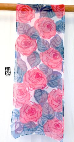 Silk Scarf Handpainted, gift for her, ETSY asap, Pink and Navy Blue Scarf, Pretty in Pink Roses Scarf, Silk Scarves Takuyo, 10x59 inches.