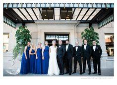 Royal blue bridesmaids dresses at the renovated DAC via Michigan Wedding Photographers, Silver Thumb Photography, www.silverthumbphoto.com, Detroit Athletic Club Wedding, Detroit Wedding Photographer