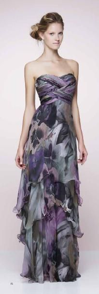Pat Bo ~ patterned, strapless gown in dusty purples and black!