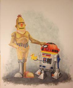 /Film reader Craig Mahoney's & painting (rubber ducky) Star Wars Art, Star Trek, Bert & Ernie, Fraggle Rock, Star Wars Droids, Geek Squad, Cartoon Crossovers, Star Wars Collection, Love Stars