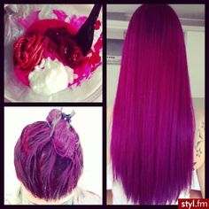 If I ever did a solid bright hair color. It would be this, it's sooooooo cute ! Ombré Hair, Dye My Hair, Splat Hair Dye, Beautiful Hair Color, Cool Hair Color, Hair Colors, Bright Hair, Colorful Hair, Bright Pink