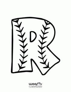 Baseball Alphabet Letter R - Woo! Kids Activitie Alphabet Letter R - Woo! Baseball Letters, Baseball Crafts, Baseball Decorations, Baseball Signs, Baseball Party, Alphabet Letters To Print, Baseball Coloring Pages, Alphabet Letter Crafts, Preschool Alphabet