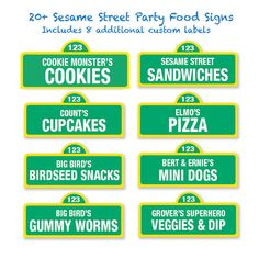 This listing includes: 20 Pre-Made Sesame Street Inspired Food Labels + 8 Custom Food Labels*  Fun food, snack and drink ideas for your Sesame