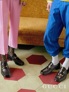 The new square-shaped Horsebit loafer from Gucci Spring Summer 2017, featuring embroideries of Donald Duck and a lobster.