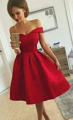 off the shoulder red short homecoming dresses, short prom dresses for women