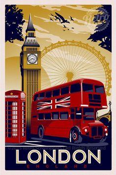 This is original artwork london england vintage retro travel screen print poster ** Screen Print Poster, Poster Prints, London England, Poster City, Pokemon Eevee, Sale Poster, London Travel, Travel Europe, Vintage Travel Posters