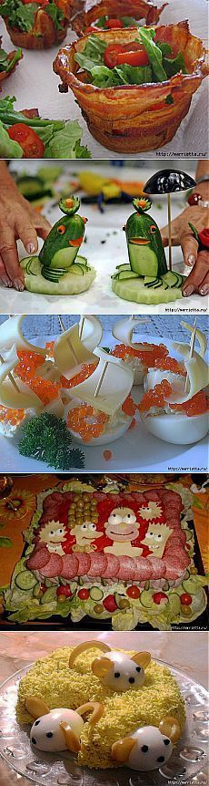Ideas Food Art For Kids Learning Food Crafts, Diy Food, Cute Food, Good Food, Food Art For Kids, Food Carving, Vegetable Carving, Weird Food, Crazy Food